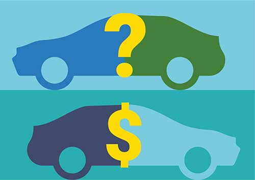 Cars with a question mark and a dollar sign, symbolizing smart car shopping
