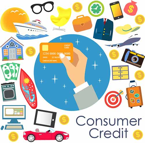 Consumer Credit, with a hand holding a credit card and a collage of numerous products and services, symbolizing borrowing money