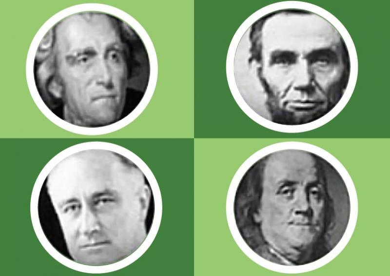 Four portraits of U.S. Presidents