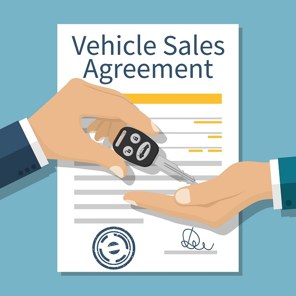 Vehicle Sales Agreement, handing over a key